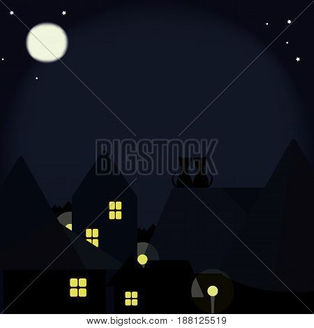 Black cats on the roofs of the night city in the light of the moon
