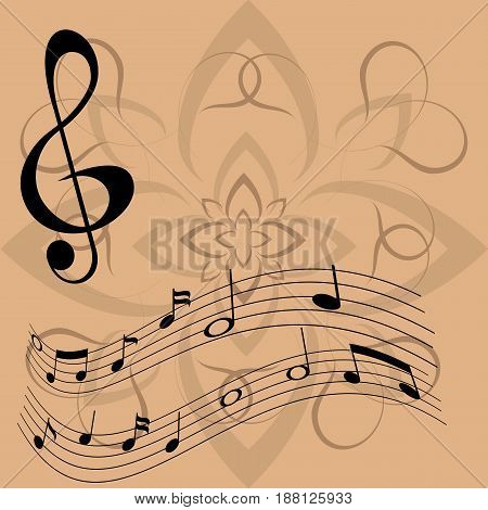 A treble clef and notes floating in music against the background of a flower