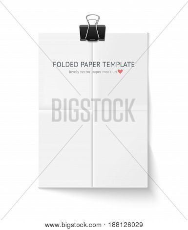 White sheet of paper folded in four hangs with paper clip and shadow isolated on white background. A4 format paper design vector with space for text, quotes. Mock up for portfolio presentation, design, business identity