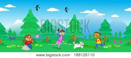 Seamless vector line of trees in mountainous landscape with happy kids playing