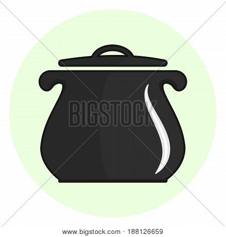 Black outline cooking pot icon, kitchen casserole symbol