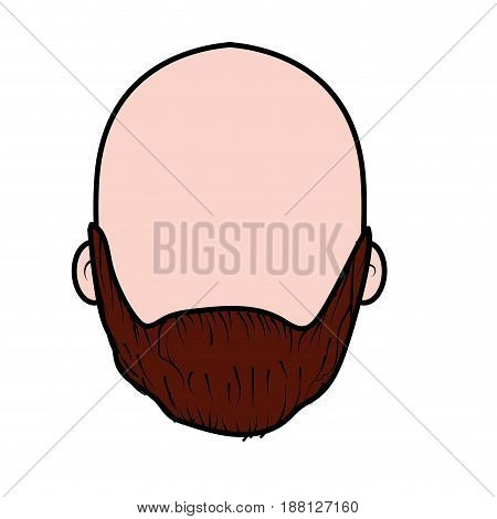 nice man face with beard and bald, vector illustration