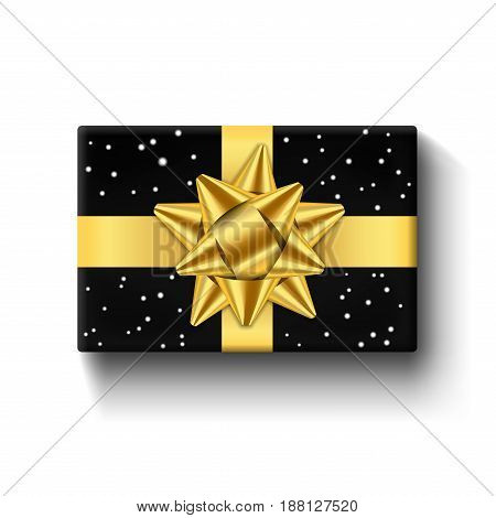 Gift box top view isolated white background. Gold ribbon on black giftbox. Present design golden bow for Christmas celebration New Year holiday gift box birthday decoration. Vector illustration