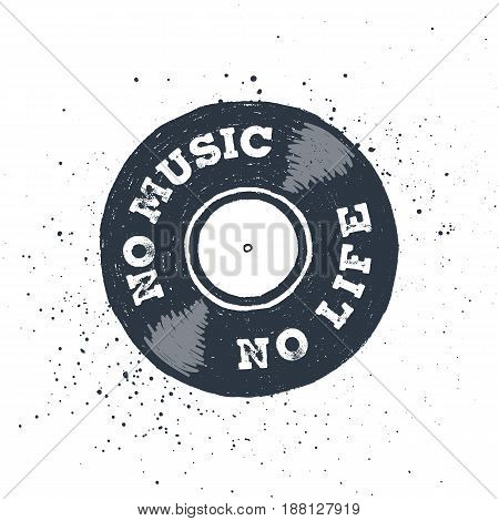 Hand drawn 90s themed badge with vinyl record textured vector illustration and
