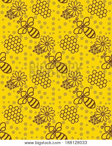 Honey pattern Wallpaper with a bee. Background for beekeeping or apiaries. Orange, yellow and brown color