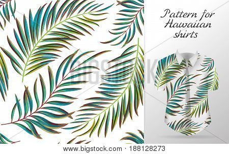 Tropical aloha pattern. Vector Hawaiian exotic leaf pattern on shirt mockup. Vector plants seamless background. Green color palm leaves.