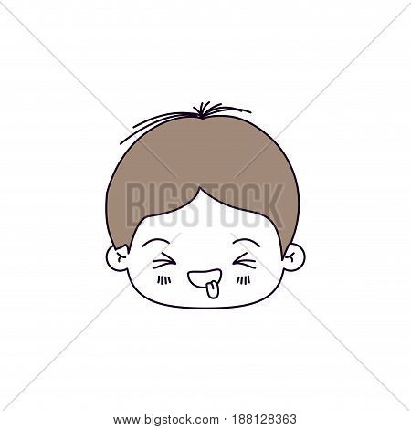silhouette color sections of facial expression disgust kawaii little boy with hair light brown vector illustration