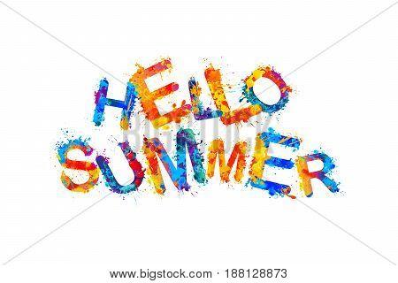 Hello Summer. Splash Paint Vector