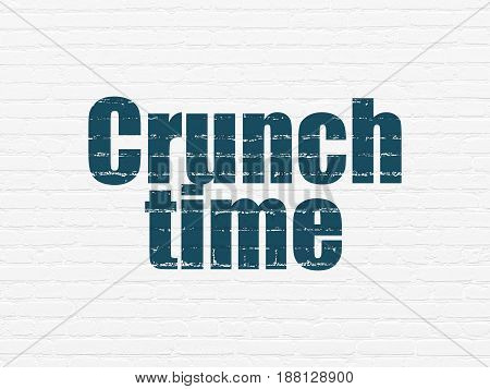 Finance concept: Painted blue text Crunch Time on White Brick wall background