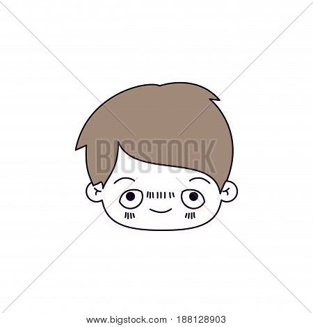 silhouette color sections of facial expression happy kawaii little boy with hair light brown vector illustration
