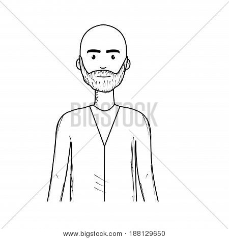 line cute man with hairstyle and beard, vector illustration