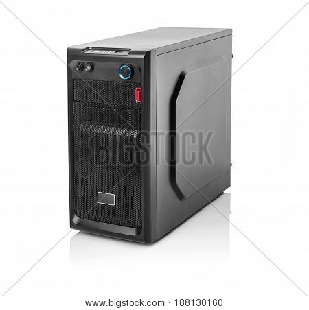 Modern black computer system unit isolated on white.