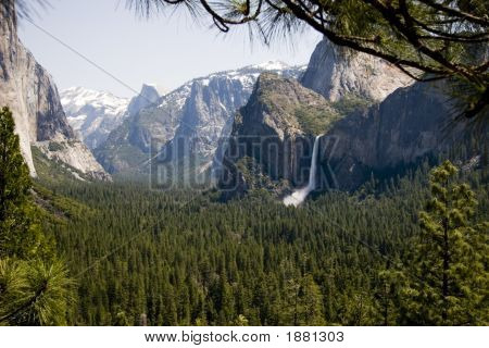 Yosemite valley in spring: view with Bridalveil Fals poster