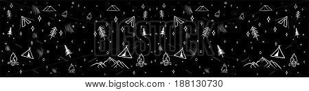 Black and white hand drawn typography Banner for you design. Trendy Outlined style illustration.