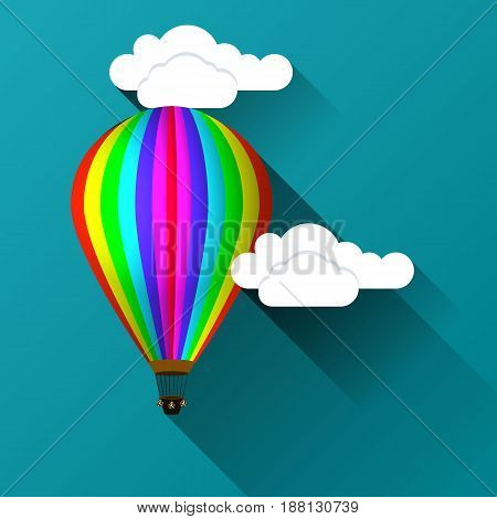 Balloon against the background of clouds with a bundle icon