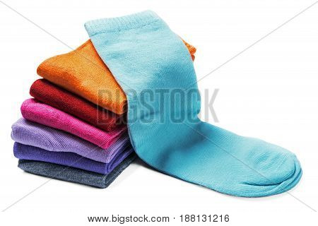 textile colorful socks isolated on a white background