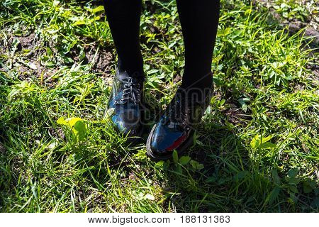 Beautiful young female legs in black elegant shoes on nature background