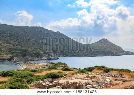 Military port side of ancient greek city knidos in Datca Turkey