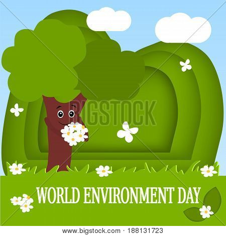 The world environment day. Cute funny tree on the background of nature. Vector illustration. Cartoon.