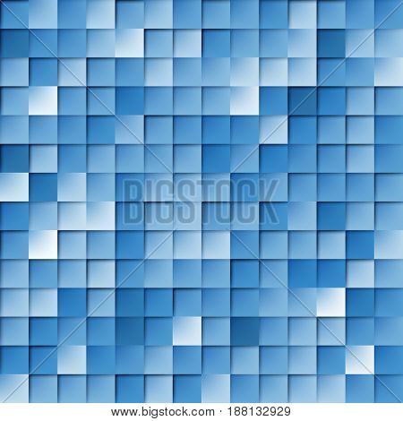 Abstract Random Tile of Blue Colors of Various Tones and Saturation
