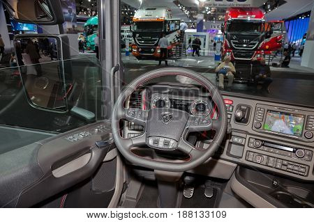 HANNOVER GERMANY - SEP 21 2016: New Scania truck interior at the International Motor Show for Commercial Vehicles.