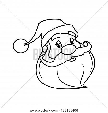 santa clause face with beard and hat. cartoon christmas character cute father frost vector illustration