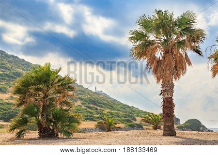 The lighthouse between palm trees in knidos Datca Turkey