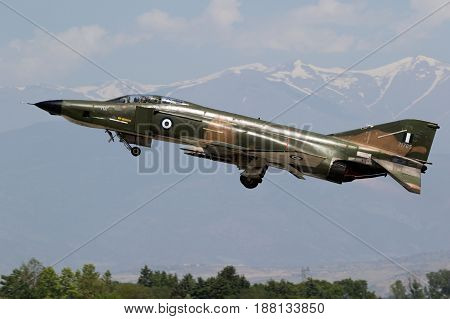 Greek Airforce F4 Phantom Fighter Plane Take Off