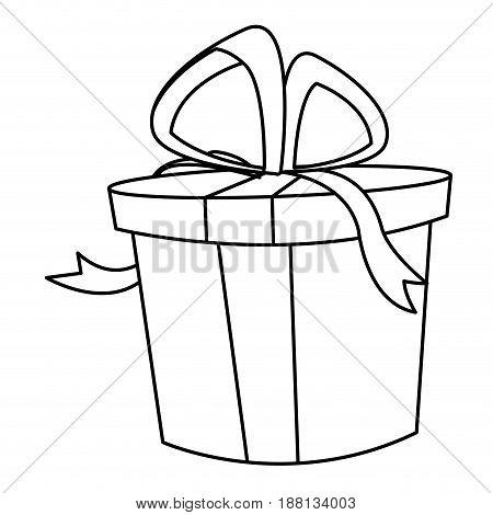 christmas gift box bow decoration icon vector illustration