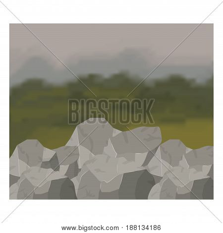 colorful background of forest and rocks scenary vector illustration