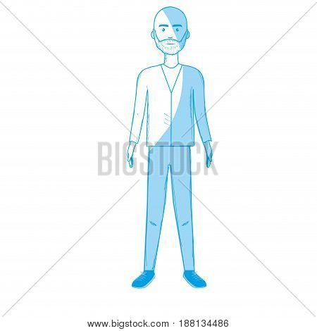 silhouette handsome man with beard and elegant wear, vector illustration