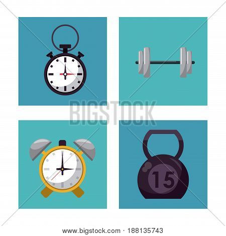 multicolored square buttons set of elements for weight training vector illustration
