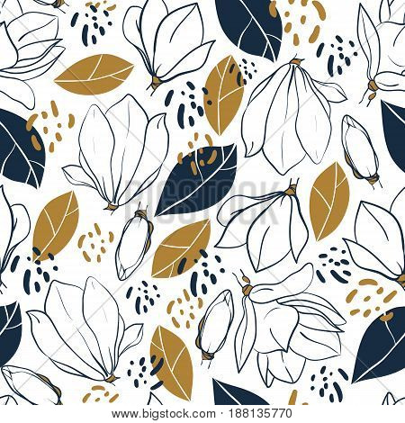 Graphic magnolia flowers budsleaves and jungle spots. Vector trendy seamless pattern in deep blue and mustard colors. Textile design.