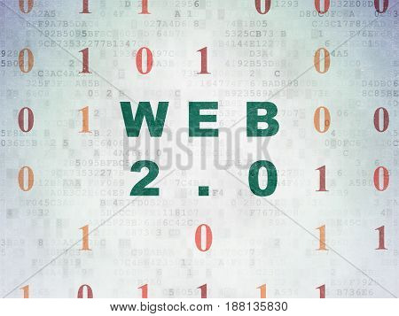Web design concept: Painted green text Web 2.0 on Digital Data Paper background with Binary Code