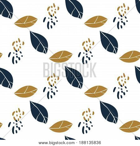 Trendy seamless botanical pattern with magnolia leaves in deep blue and mustard colors. Vector hand drawn illustration for print textile wrapping paper.