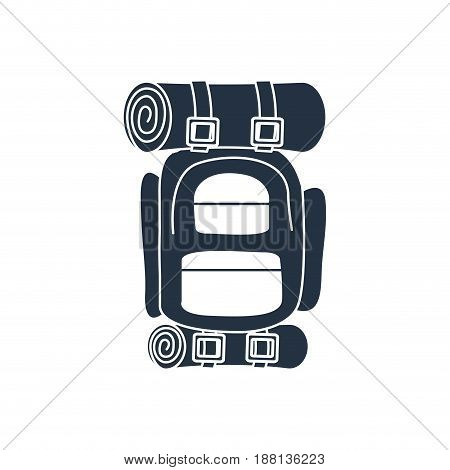 white background with dark blue hand drawn silhouette of camping backpack vector illustration