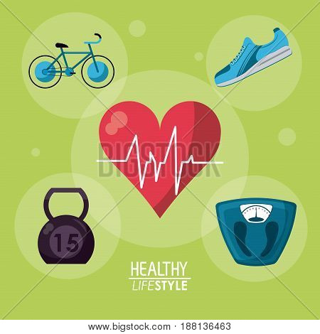 green color background with bubbles and elements sport healthy lifestyle inside vector illustration