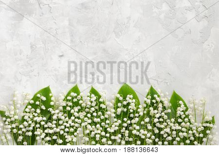 Lilies of the valley on a concrete texture. Lilies of the valley lying in a row. Copy-space composition. Overhead shot