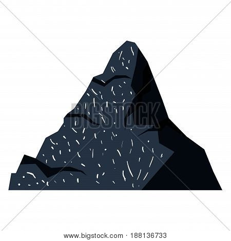 white background with dark blue hand drawn silhouette of mountain peak vector illustration