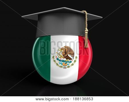 3D Illustration. Graduation cap and Mexican flag. Image with clipping path