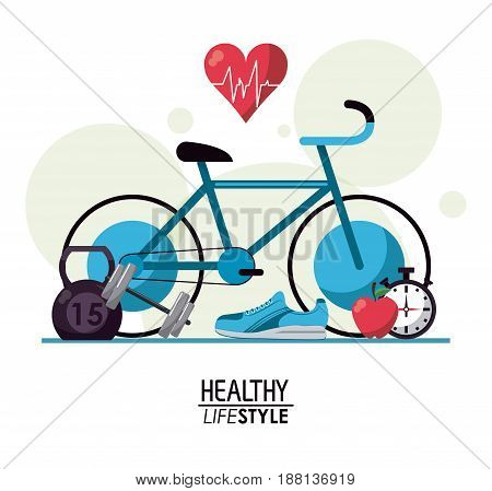 white background with bubbles and elements sport healthy lifestyle vector illustration