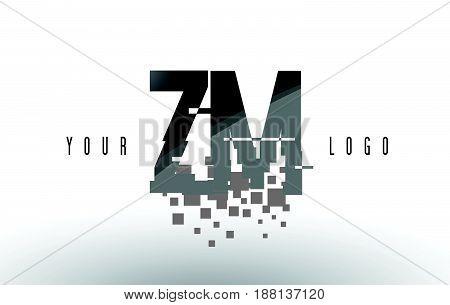 Zm Z M Pixel Letter Logo With Digital Shattered Black Squares