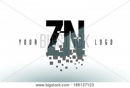 Zn Z N Pixel Letter Logo With Digital Shattered Black Squares