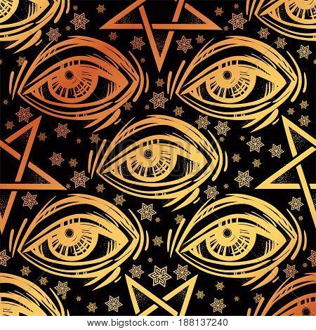 Spiritual pattern with all-seeing eye, stars and reverse pentagram. Occult design vector illustration. Ink tattoo repetition flash design. Vector illustration. Satanism, Sacred Spirit. Masonic sign.