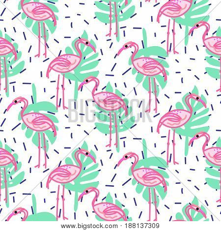 Summer pop art flamingo and palm tropic branches seamless pattern. Aloha exotic pink birds and green leaves fun background for gift paper, wallpaper and textile print.