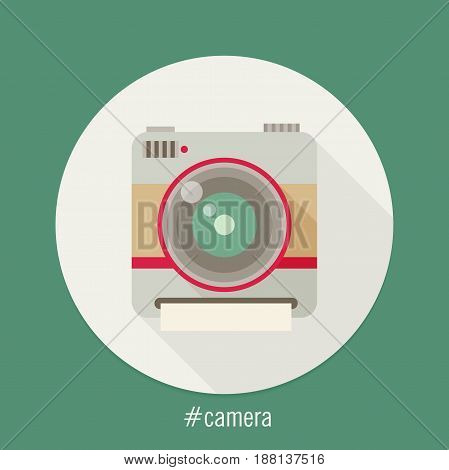 Camera flat icon vector with long shadow