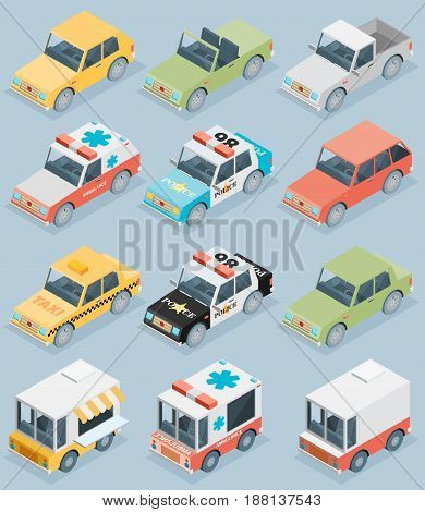 Set of the isometric cars in fglat style