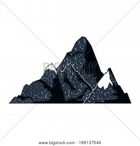 white background with dark blue hand drawn silhouette of hill with peak snowy vector illustration