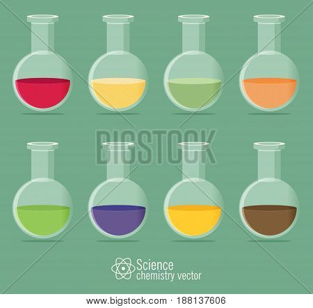 Chemical Icon set in different colors with background
