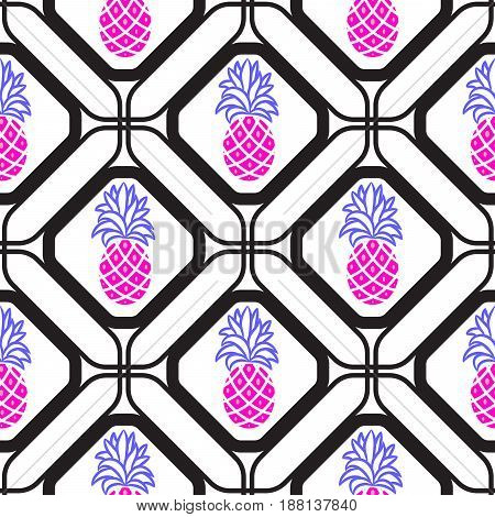 Pineapples in rhombuses geometric seamless tile pattern. Pink fruits in cells azulejos tile design for fabric, ceramic and paper.